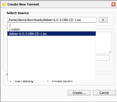 Add torrent screen