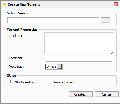 rTorrent create a torrent menu